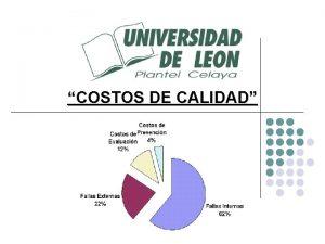 COSTOS DE CALIDAD COSTOS DE LA CALIDAD TOTAL