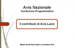 Avis Nazionale Conferenza Programmatica Il contributo di Avis