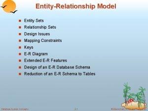 EntityRelationship Model n Entity Sets n Relationship Sets