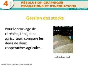 Chapitre 4 RSOLUTION GRAPHIQUE DQUATIONS ET DINQUATIONS Gestion