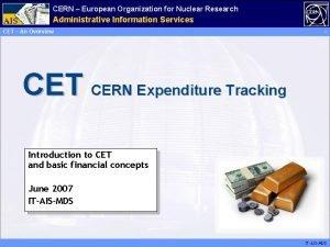 CERN European Organization for Nuclear Research AIS Management