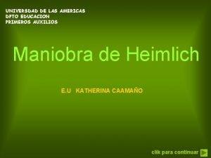 UNIVERSDAD DE LAS AMERICAS DPTO EDUCACION PRIMEROS AUXILIOS