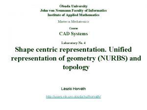 buda University John von Neumann Faculty of Informatics