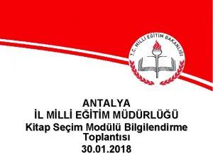 ANTALYA L MLL ETM MDRL Kitap Seim Modl
