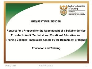 REQUEST FOR TENDER Request for a Proposal for