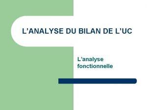 LANALYSE DU BILAN DE LUC Lanalyse fonctionnelle I