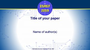 Title of your paper Name of authors TOULOUSE