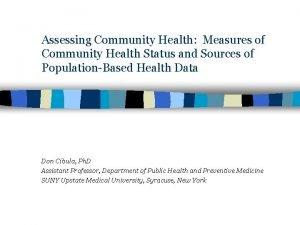 Assessing Community Health Measures of Community Health Status