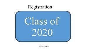 Registration Class of 2020 Updated 11419 Online Registration
