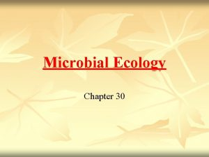 Microbial Ecology Chapter 30 Principles of Microbial Ecology