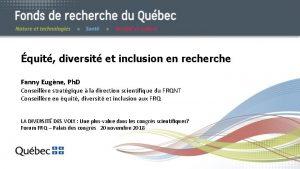 quit diversit et inclusion en recherche Fanny Eugne