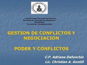 GESTION DE CONFLICTOS Y NEGOCIACION PODER Y CONFLICTOS