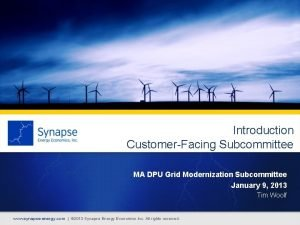 Introduction CustomerFacing Subcommittee MA DPU Grid Modernization Subcommittee