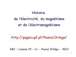 Histoire de llectricit du magntisme et de llectromagntisme