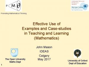 Promoting Mathematical Thinking Effective Use of Examples and