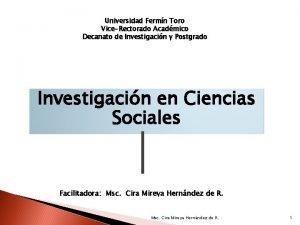 Universidad Fermn Toro ViceRectorado Acadmico Decanato de Investigacin