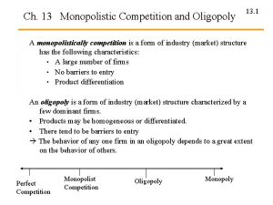 Ch 13 Monopolistic Competition and Oligopoly 13 1