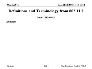 March 2011 doc IEEE 802 11 10435 r