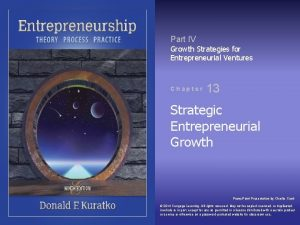 Part IV Growth Strategies for Entrepreneurial Ventures Chapter