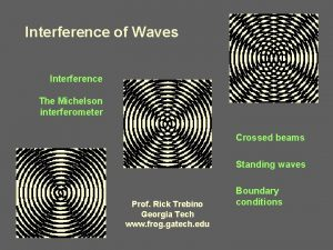 Interference of Waves Interference The Michelson interferometer Crossed