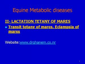 Equine Metabolic diseases II LACTATION TETANY OF MARES