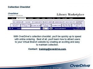 Collection Checklist With Over Drives collection checklist youll