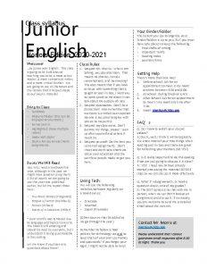 Junior English Class syllabus Honors Edition 2020 2021