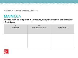 Section 3 Factors Affecting Solvation Factors such as