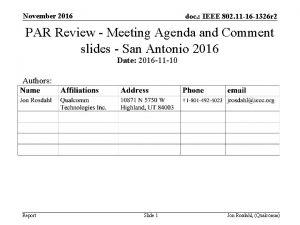 November 2016 doc IEEE 802 11 16 1326