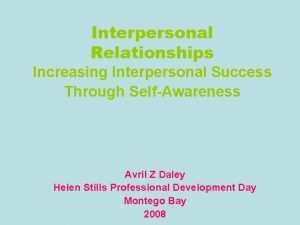 Interpersonal Relationships Increasing Interpersonal Success Through SelfAwareness Avril