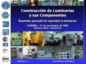 Construccin de Luminarias y sus Componentes Requisitos generales