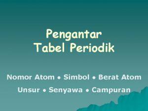 Pengantar Tabel Periodik Nomor Atom Simbol Berat Atom