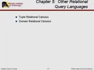 Chapter 5 Other Relational Query Languages n Tuple