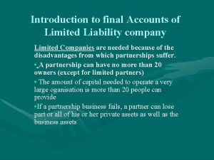 Introduction to final Accounts of Limited Liability company