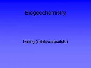 Biogeochemistry Dating relativeabsolute RelativeAbsolute dating Dating by assemblages