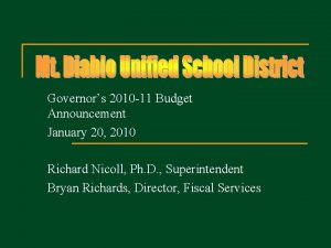Governors 2010 11 Budget Announcement January 20 2010
