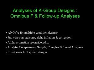 Analyses of KGroup Designs Omnibus F Followup Analyses