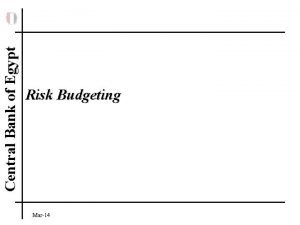 Central Bank of Egypt Risk Budgeting Mar14 Central