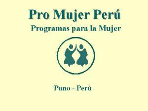 Pro Mujer Per Programas para la Mujer Puno