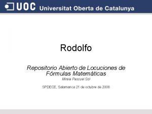 Rodolfo Repositorio Abierto de Locuciones de Frmulas Matemticas