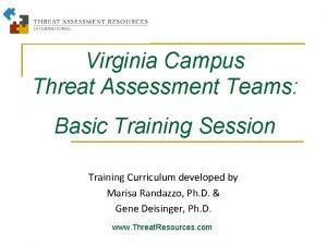 Virginia Campus Threat Assessment Teams Basic Training Session