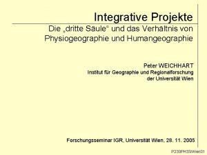 Integrative Projekte Die dritte Sule und das Verhltnis