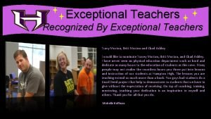 Exceptional Teachers Recognized By Exceptional Teachers Tracy Morton