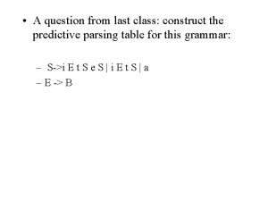 A question from last class construct the predictive