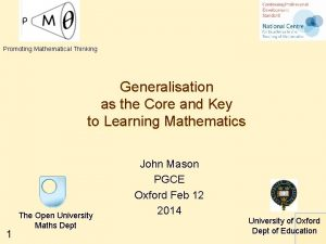 Promoting Mathematical Thinking Generalisation as the Core and