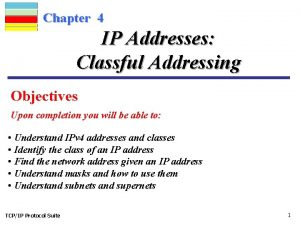 Chapter 4 IP Addresses Classful Addressing Objectives Upon