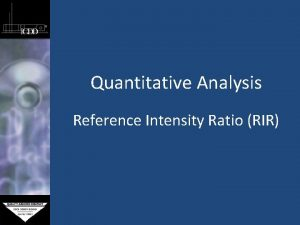 Quantitative Analysis Reference Intensity Ratio RIR Reference Intensity