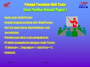 Jenis jenis Multi Tester Bagian bagian penting dari