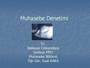 Muhasebe Denetimi TC Balkesir niversitesi Sndrg MYO Muhasebe