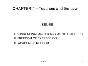 CHAPTER 4 Teachers and the Law ISSUES I